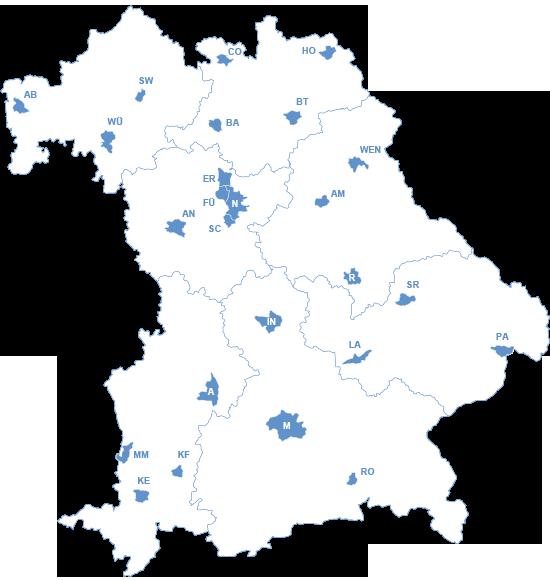 bayern karte städte Kreisfreie Städte in Bayern bayern karte städte